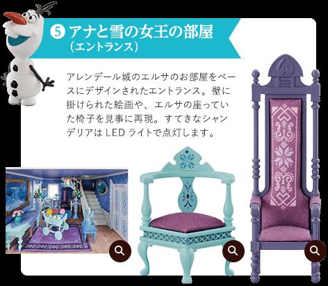 ⑤ アナと雪の女王の部屋(エントランス) アレンデール城のエルサのお部屋をベースにデザインされたエントランス。壁に掛けられた絵画や、エルサの座っていた椅子を見事に再現。すてきなシャンデリアはLEDライトで点灯します。