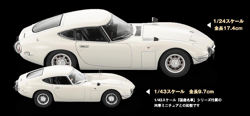 1/24スケール全長17.4cm 1/43スケール 全長9.7cm 1/43スケール『国産名車』シリーズ付属の同車ミニチュアとの比較です