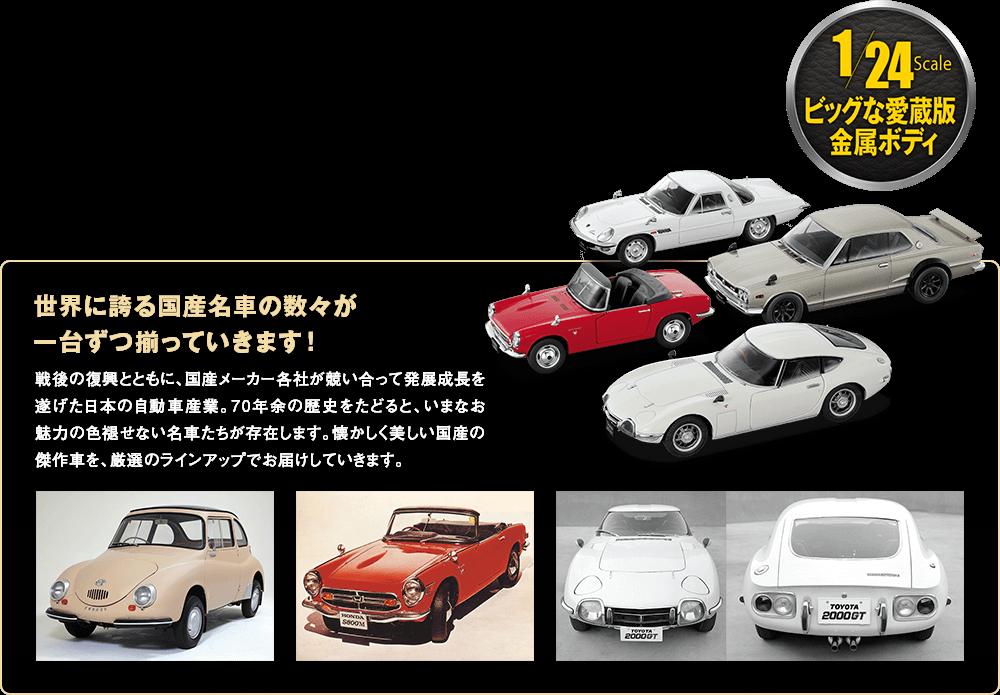 1/24Scale ビッグな愛蔵版金属ボディ 世界に誇る国産名車の数々が一台ずつ揃っていきます! 戦後の復興とともに、国産メーカー各社が競い合って発展成長を遂げた日本の自動車産業。70年余の歴史をたどると、いまなお魅力の色褪せない名車たちが存在します。懐かしく美しい国産の傑作車を、厳選のラインアップでお届けしていきます。