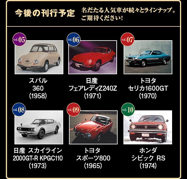 今後の刊行予定 名だたる人気車が続々とラインナップ。 ご期待ください! Vol.05 スバル 360(1958) Vol.06 日産 フェアレディZ240Z(1971) Vol.07 トヨタ セリカ1600GT(1970) Vol.08 日産 スカイライン 2000GT-R KPGC110(1973) Vol.09 トヨタ スポーツ800(1965) Vol.10 ホンダ シビック RS(1974)