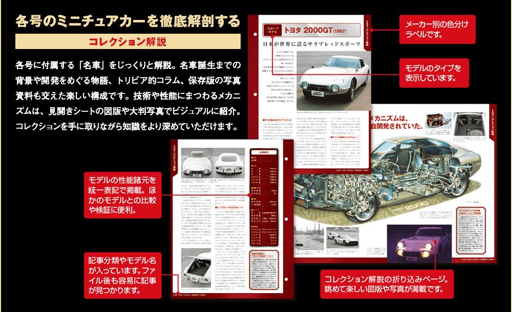 各号のミニチュアカーを徹底解剖する コレクション解説 各号に付属する「名車」をじっくりと解説。名車誕生までの背景や開発をめぐる物語、トリビア的コラム、保存版の写真資料も交えた楽しい構成です。技術や性能にまつわるメカニズムは、見開きシートの図版や大判写真でビジュアルに紹介。コレクションを手に取りながら知識をより深めていただけます。 メーカー別の色分けラベルです。モデルのタイプを表示しています。モデルの性能諸元を統一表記で掲載。ほかのモデルとの比較や検証に便利。記事分類やモデル名が入っています。ファイル後も容易に記事が見つかります。コレクション解説の折り込みページ。眺めて楽しい図版や写真が満載です。