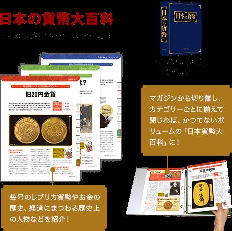 日本の貨幣大百科 日本の貨幣大百科を完成させよう 毎号のレプリカ貨幣やお金の歴史、経済にまつわる歴史上の人物などを紹介! マガジン保存用バインダー マガジンから切り離し、カテゴリーごとに揃えて閉じれば、かつてないボリュームの「日本貨幣大百科」に!