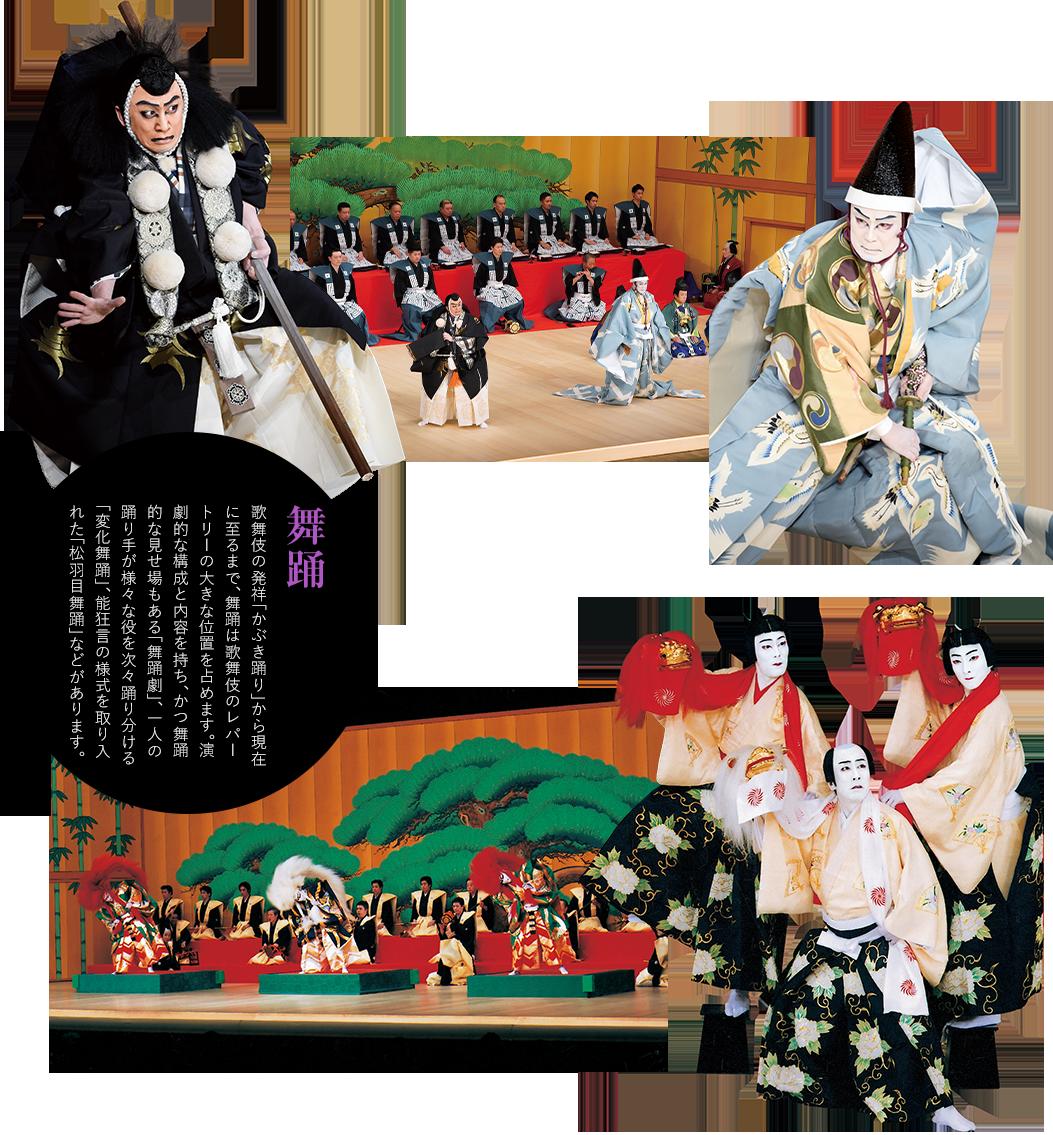 舞踊 歌舞伎の発祥「かぶき踊り」から現在に至るまで、舞踊は歌舞伎のレパートリーの大きな位置を占めます。演劇的な構成と内容を持ち、かつ舞踊的な見せ場もある「舞踊劇」、一人の踊り手が様々な役を次々踊り分ける「変化舞踊」、能狂言の様式を取り入れた「松羽目舞踊」などがあります。