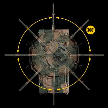 砲塔360度旋回砲身が上下動
